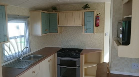 Kitchen of Atlas Lakeland Caravan at Moss Wood Caravan Park