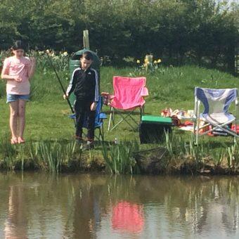 Children fishing at Moss Wood Caravan Park