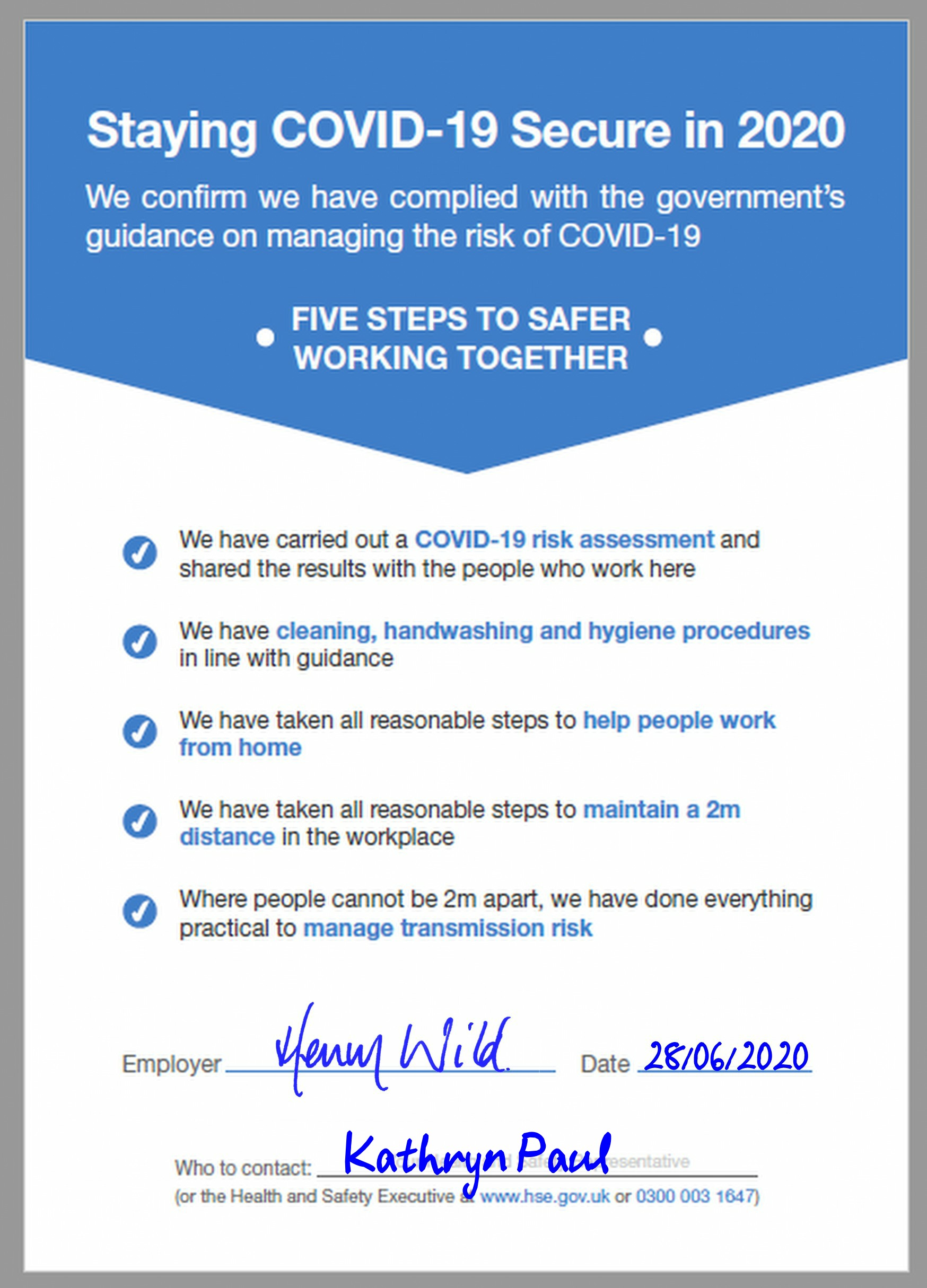 Covid-19 Safety Certificate