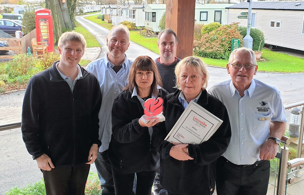 Moss Wood Caravan Park team celebrates Ethical Responsible Sustainable Tourism Award at 2019 Lancashire Tourism Awards