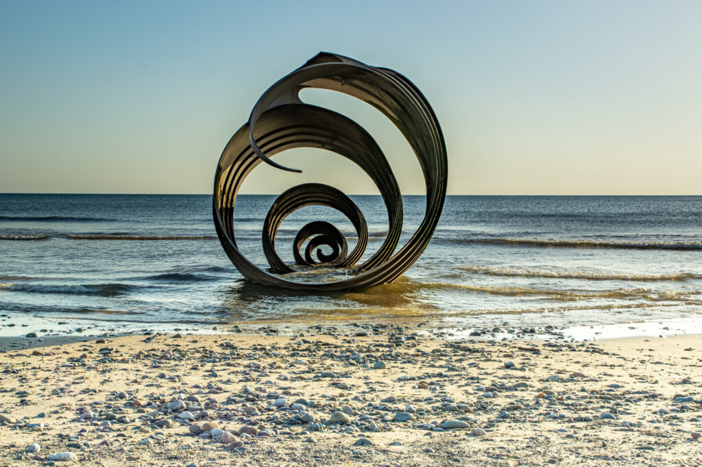 sculpture on lancashire beach