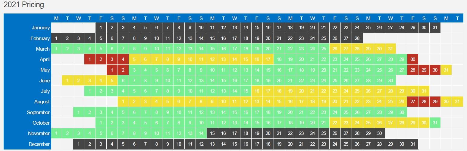 2021 Tariff high low peak season dates calendar